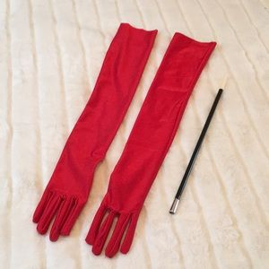 Long Red Satin Gloves and Cigarette Holder